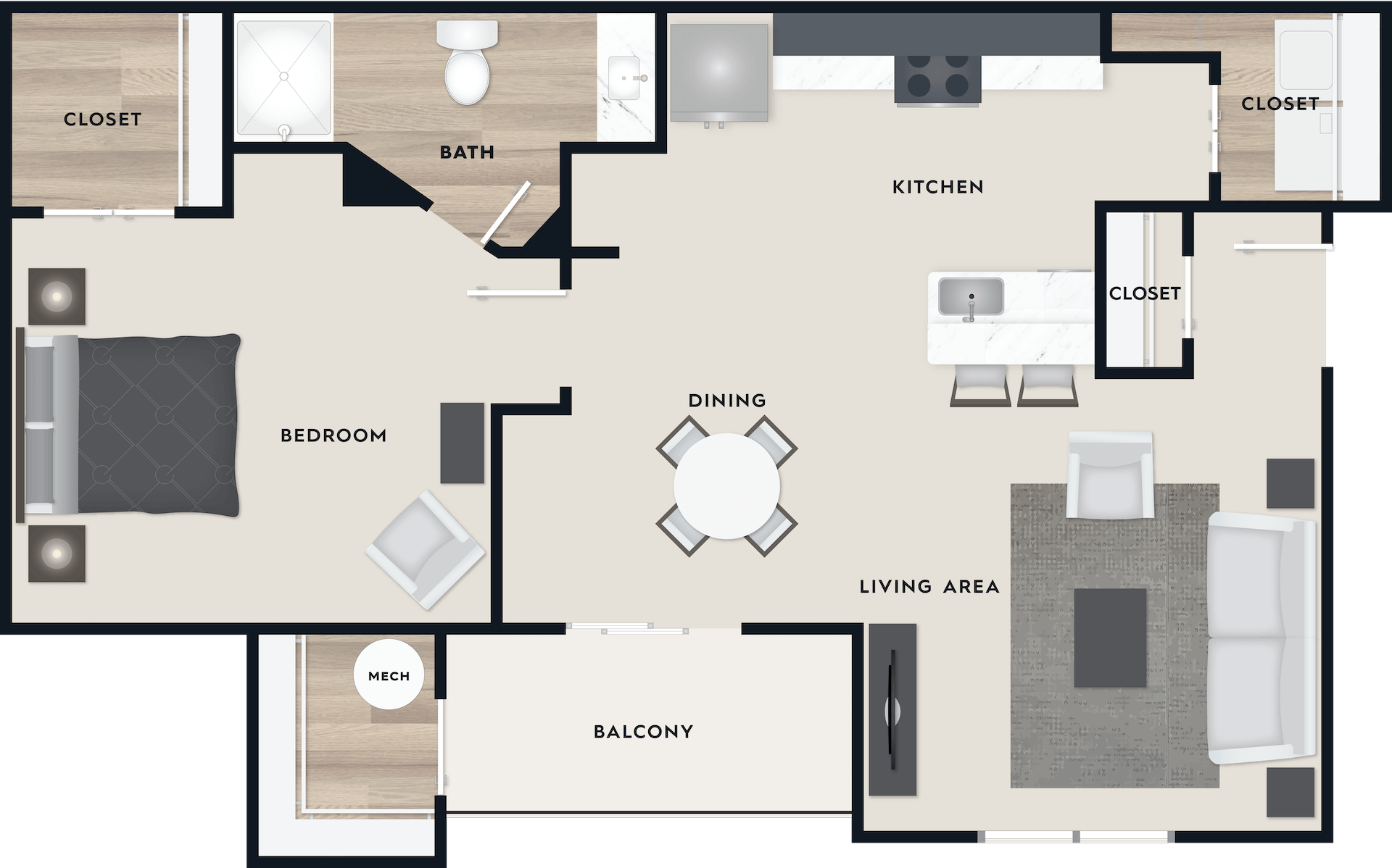 A1 floor plan, 758 square feet, 1 bed, 1 bath, with a balcony.