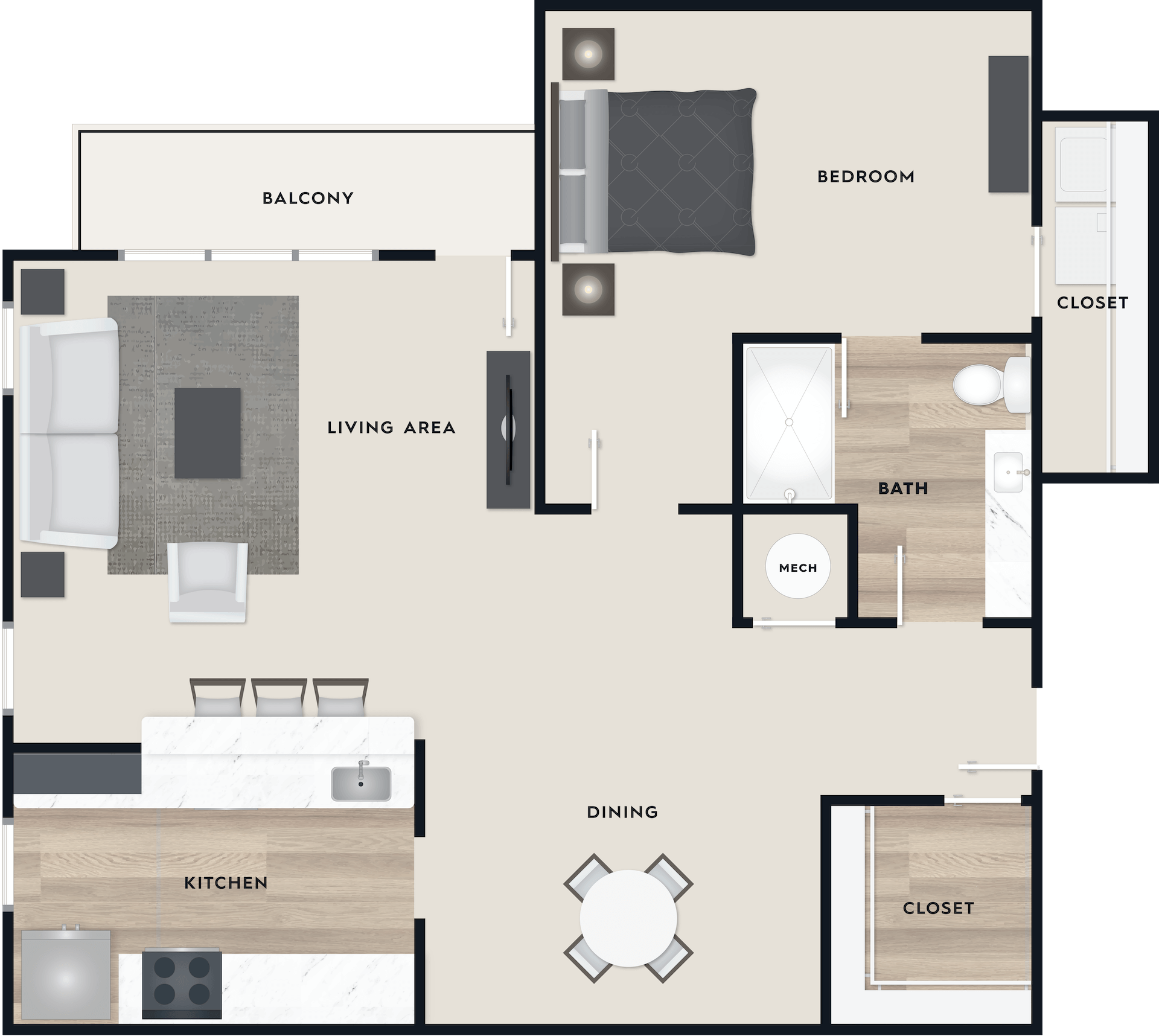 A2 floor plan, 949 square feet, 1 bed, 1 bath, with a balcony.