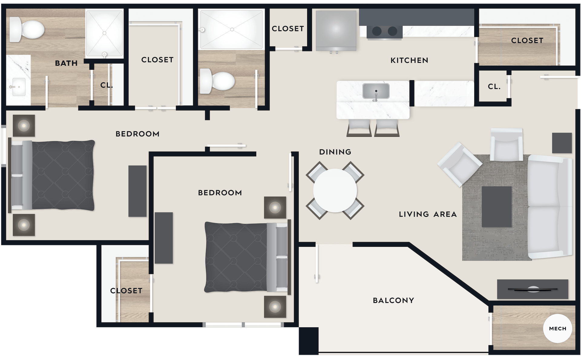 B2 floor plan, 1,068 square feet, 2 beds with walk-in closets, 2 baths, with a balcony
