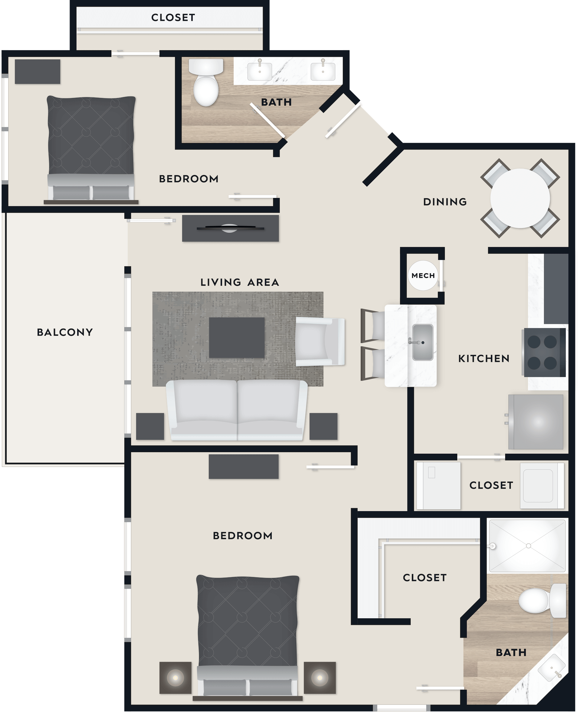 B3 floor plan, 1,244 square feet, 2 beds, 2 baths with a balcony